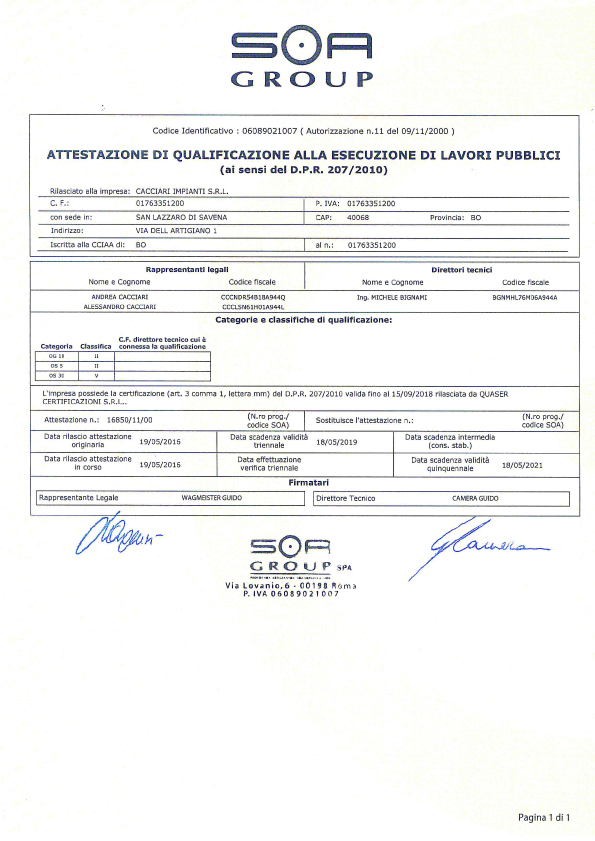 Certifications Cacciari